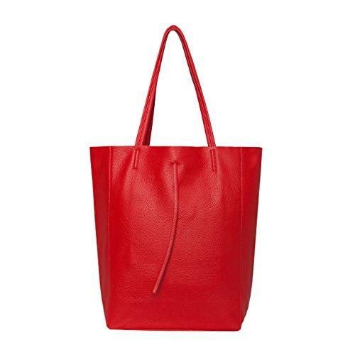 SKUTARI® Leder Vittoria Classic - Damen Shopper aus echtem Leder, Handtasche mit eingenähter Innentasche, handgefertigt in Italien, Fashion Tragetasche mit langen Griffen, 37 x 38 x 14 cm(Rot)