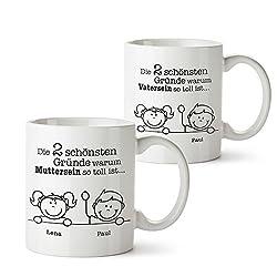 Casa Vivente 2er Set Tasse mit Aufdruck – Gute Gründe Mama und Papa – Personalisiert mit Namen - Individuelle Kaffeetassen als Mama und Papa Geschenke- Geschenkideen zu Weihnachten