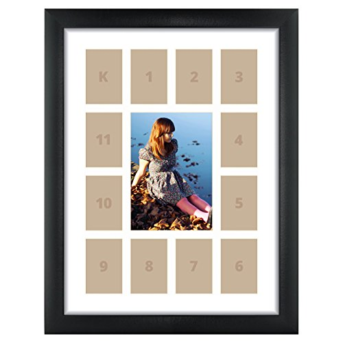 Craig Frames 1WB3BK Matted Picture Frame, 12x16, 13-Opening School Year - 1' Border