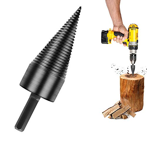 PuzFun Wood Splitter Drill Bits, Firewood Log Splitter Drill, Firewood Drill Bit Wood Splitter, Removable Firewood Kindling Splitter Screw for Household Electric Drill (32mm/1.26inch) (Hex Shank)