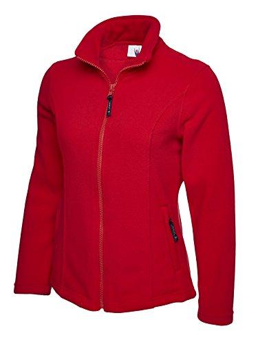 Damen Klassische Anti-pille Reißverschluss Warm Fleece Jacke Mantel Freizeit Arbeit Outdoor - Rot, L