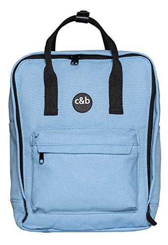 cecilia&bens Canvas Rucksack Damen Herren Schulrucksack Notebook bis 14 Zoll und A4 Blöcke, Farbe:hellblau