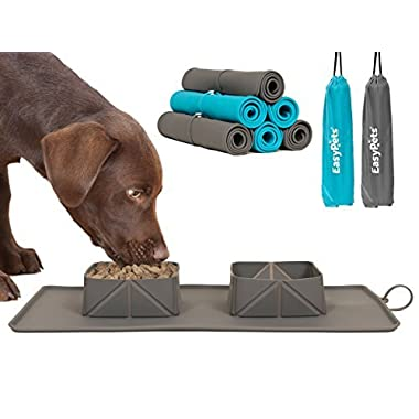 EasyPets 'RollaBowl' Travel Portable Roll Up Double Dog Bowls and Pet Feeding Mat for Home, Walks or Camping. For Cats and Dogs.