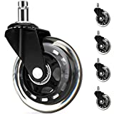 5 PCS Office Chair Wheels Black Replacements Heavy Duty Safe for All Floors Including Hardwood, 3'' Perfect Replacement for Rubber Desk Chair Casters Rollerblade Style Universal fit