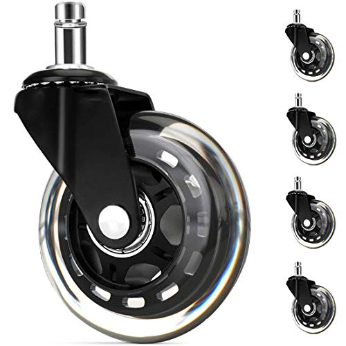 3 In Office Chair Wheels Black Replacements (Set of 5), Swivel chair wheelsfor All Floors Including Hardwood, Perfect Replacement for Rubber Desk Chair Casters Rollerblade Style Universal fit