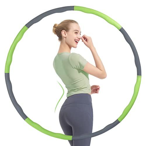 FREEDM Hula Hoop Reifen für Erwachsene & Kinder zur Gewichtsabnahme und Massage, EIN 6-8 Teiliger Abnehmbarer Hula Hoop von 1.2 Kg mit Premium Schaumstoff für Anfänger Fitness/Büro/Bauchformung(Grün)