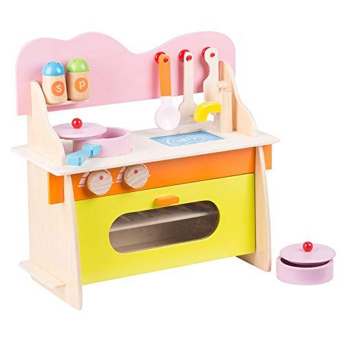 Marionette Wooden Toys Cucina per Bambini 10 Pezzi Gioco Giocattolo in Legno Kitchen Toys Multicolore