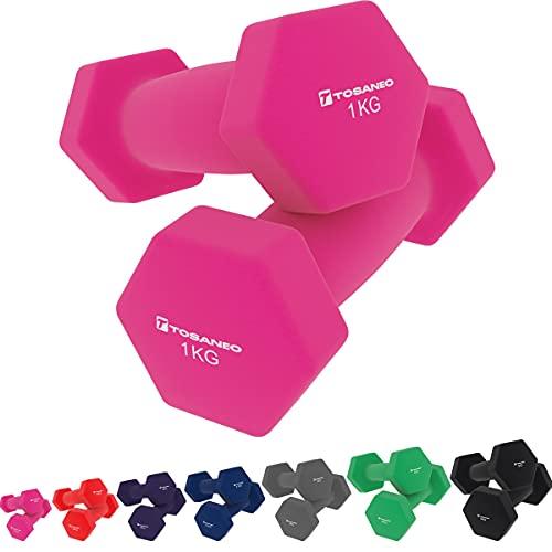 Tosaneo 2er Set Hanteln Neopren Kurzhanteln Gewichte für Gymnastik Aerobic Fitness Hantelset 2X 1,0kg bis 5,0kg Hantel 2X 1,0kg pink