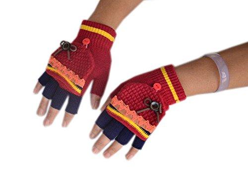 Blancho Demi doigt Gants tricoté gants d'hiver pour femme, Femme, Orange