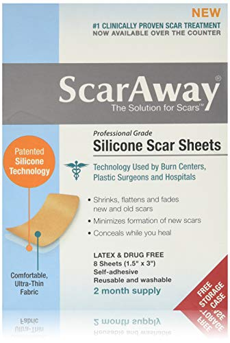 Scar Away - Hojas de cicatriz de silicona de 1,5 x 3 pulgadas (8)