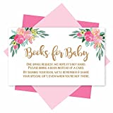 25 Book Request Baby Shower Guest Book Alternative - Floral Baby Shower Invitation Inserts, Books For Baby Shower Request Cards, Bring A Book Instead Of A Card, Baby Shower Book Request For Girls