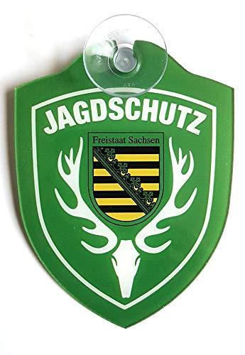 Schilder Einsatzschild für die Windschutzscheibe incl. Saugnapf JAGDSCHUTZ Sachsen (WappenJagdschutz)