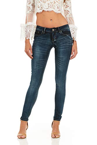 COVER GIRL womens Dark Blue Wash Skinny Juniors and Plus Size Jeans, Ultra Dark, 5 US
