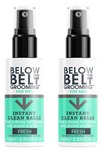 Below The Belt Grooming Instant Clean Balls - Ideal for Sports, Gym, Festivals & Travel - Oceanic Fresh Fragrence 2 x 75ml