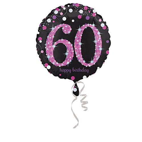 amscan 10022713 3378801 Folienballon 60.Geburtstag Celebration, Pink, Schwarz