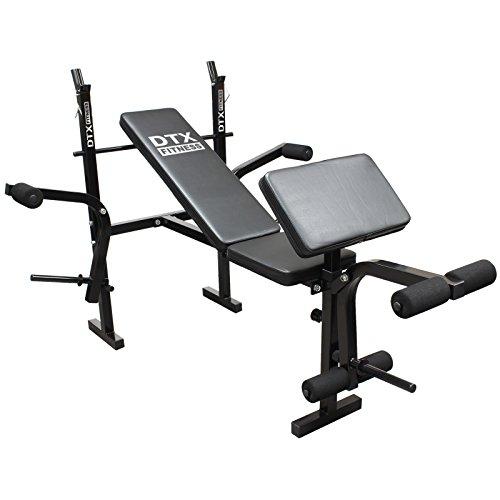 DTX Fitness Banc de Musculation Tout-En-Un pour Haltères avec Pupitre a Curl & Papillon
