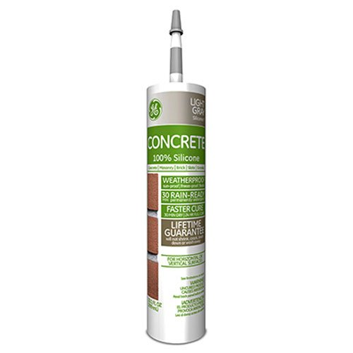 General Electric GE5020 Concrete and Masonry Silicone II Caulk, 10.1-Ounce, Light Grey