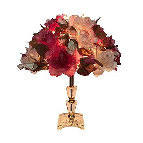 GZQDX Rosa Flor Cristal lámpara de Mesa Regalo de Boda Creativo Boda Princesa Sala de Boda Largo decoración Brillante Dormitorio cálido lámpara de Noche