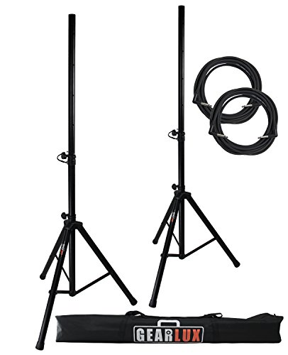 Gearlux Tripod Speaker Stands with Carrying Case and Speaker Cables