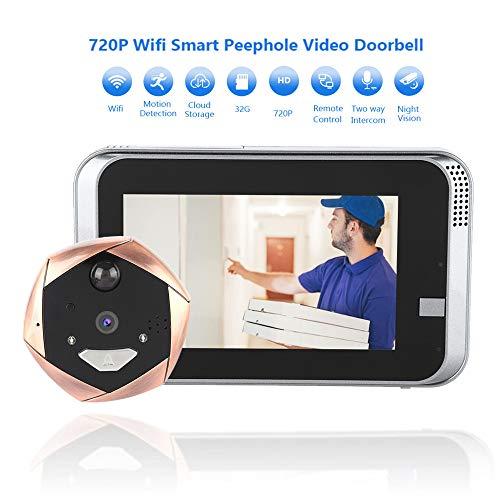 Garsent digitaal kijkgaatje, 4,3 inch LCD-scherm video kijkgaatje deurbel met 720 P nachtzicht WiFi groothoek deurcamera voor thuiskantoor