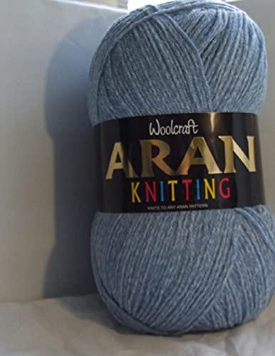 WoolCraft Aran - Hilo de lana (70% lana, 30% acrílico, 1 ovillo de 400 g, 800 m, 810 vaquero)