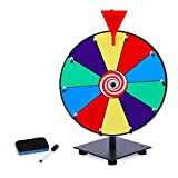 T-SIGN 12 Inch Heavy Duty Spinning Prize Wheel, 10 Slots Color Tabletop Prize Wheel Spinner with Dry Erase Markers and Eraser for Carnival and Trade Show, Win The Fortune Spin Game