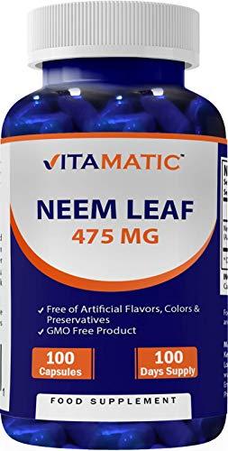 Vitamatic Neem Leaf 475 mg - Non-GMO, Gluten & Dairy Free - 100 Capsules