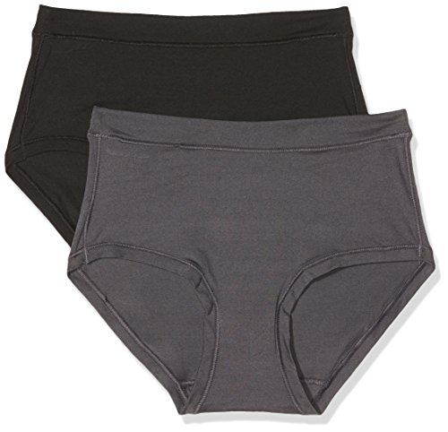 Dim Body Mouv Tejido Ultraelástico Bóxer, Multicolor (Negro/Gris Granite 6o5), (Tamaño del Fabricante:36/38) (Pack de 2) para Mujer