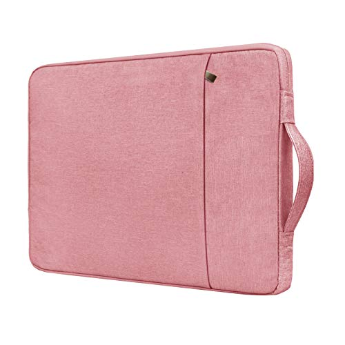 RAINYEAR 15 Inch Laptop Sleeve Case Specially Compatible with New 15' MacBook Pro,Handbag with Handle Strap Front Pocket Padded Briefcase Polyester Waterproof Cover Computer Carrying Bag,Pink