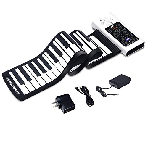 Electric Roll Up Piano, SAFEPLUS Portable Foldable 61 Keys Flexible Soft Silicone Electronic Music Keyboard Piano, Battery or USB Powered with Louder Speaker