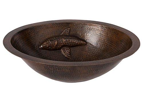 Premier Copper Products LO19FLKOIDB Waschbecken aus gehämmertem Kupfer, oval, Motiv Koifische