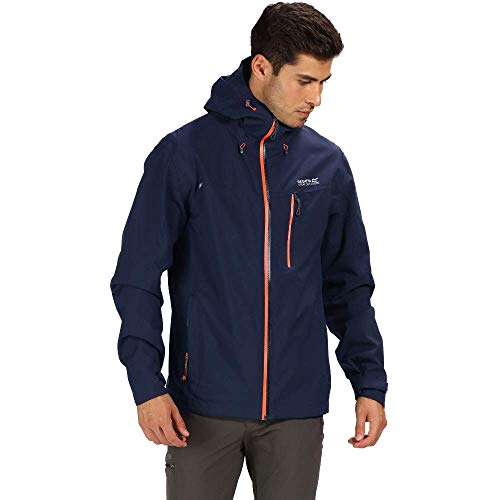 Regatta Herren Birchdale Waterproof and Breathable Hooded Active Hiking Shell Jacke, Navy, XL