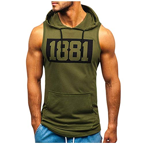 Sylar Camiseta sin Mangas para Hombre Verano Camisetas de Tirantes con Capucha impresión de Letras Camiseta Gym Hombre Deporte Fitness Chaleco Tops Pullover L