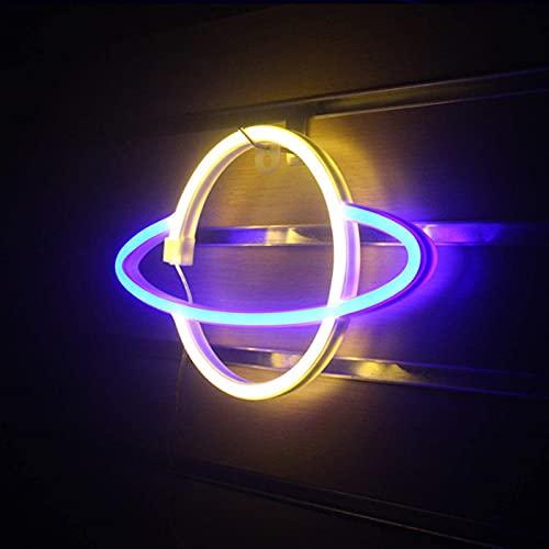 SJHP 2 Pcs Luz de Neón Señales Luminosas LED Planet Luz de Neón Iluminación de Interior Bateria Cargada para Niños Habitación de Bebé Manguera Bar Decoración de Fiesta de Boda