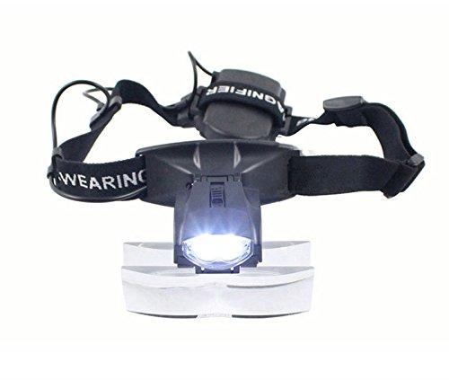 Lupa frontal 2LED luz cabeza Lupa Gafas Lupa Lupa Gafas + 5Lente