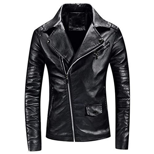 Herenjas Dasongff Vintage Retro Biker stijl Nauw getailleerd casual herenjack biker jack kunstleer klassiek biker trenchcoat mantel outwear X-Large zwart