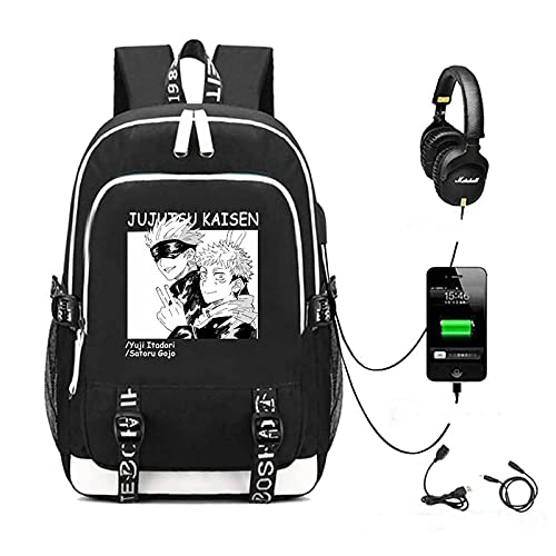 EDMKO Jujutsu Kaisen Anime Mochila, Cosplay Impreso Mochila Escolar Oxford Tela Durable Daypack Bookbag Estudiante Anti-Robo Bolsa para Laptop con Carga USB,C