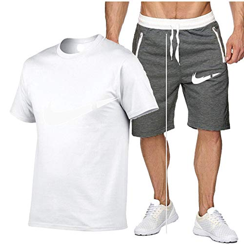 DREAMING-Men's breathable jogging sports summer cotton short-sleeved fitness casual T-shirt top + shorts five-point pants suit X-Large