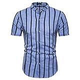 Camisa Hombre A Cuadros Camisa Hombre Cómoda Manga Corta Ajustada con Cuello Alto Botón Tapeta Camisa Hombre Casual Negocios Camisas Ocio Todo Fósforo I-Blue3 S