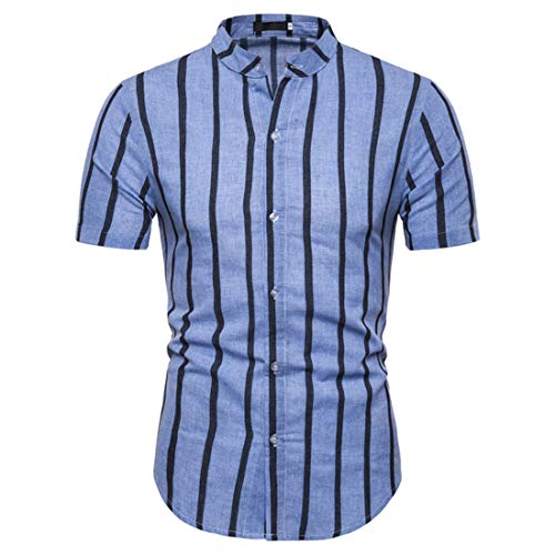 Shirt Casual Hombre Verano A Rayas/A Cuadros Shirt Hombre Manga Corta Botones Cuello Alto Hombre Camisa Slim Fit Moda Negocios Hombres Shirt Sin Cuello I-Blue3 M