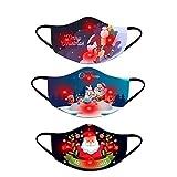 3pcs Weihnachten Halstuch Mundschutz Erwachsene LED Licht 3D Druck Bandana Maske Multifunktionstuch mit Motiv Atmungsaktiv Mund und Nasenschutz Damen Herren (Multicolor 14)