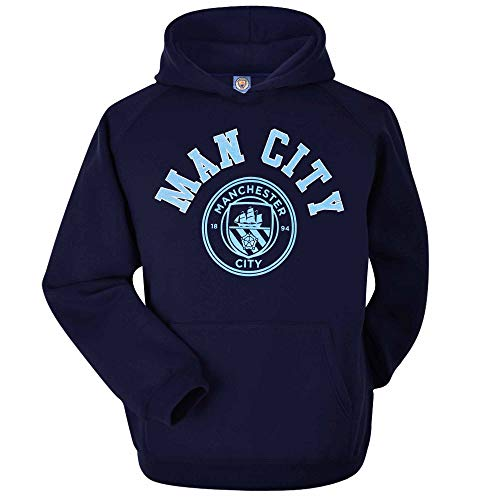 Officiële Manchester City voetbal Crest Hoodie (Volwassenen maten S tot 2XL)