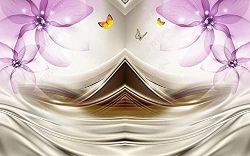 Papel Pintado Pared Papel Mariposa De Flor Transparente De Color Púrpura Fotomurales 3d Decoración Papel Tapiz Dormitorio Sala Custom Murales Fondo Pared 200x140cm