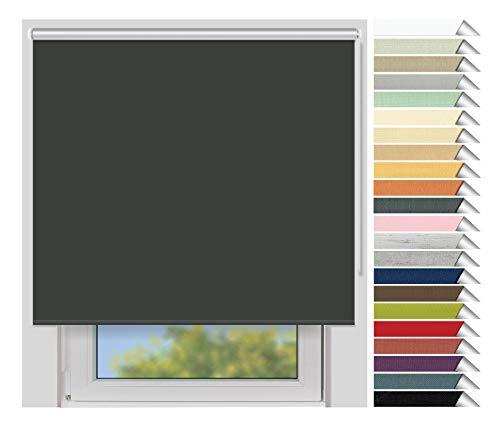 EFIXS Thermorollo Medium - 25 mm Welle - Farbe: dunkelgrau (061) - Breiten: 40-240 cm - Hier: 160 x 190 cm (Stoffbreite x Höhe) - Hitzeschutzrollo - Verdunklungsrollo