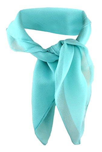 TigerTie Damen Chiffon Nickituch in mint grün einfarbig unicolor - Halstuch Größe 50 cm x 50 cm