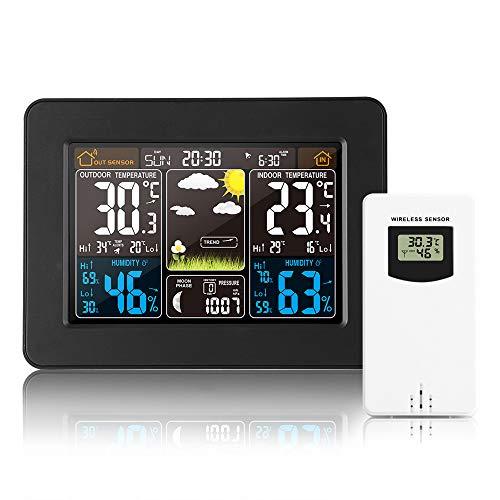 Kabellose Wetterstation, Digitale bunte Wettervorhersage, Uhr mit Außensensor, Innen-/Außen-Thermometer mit Uhrzeit, Datum, Temperatur, Luftfeuchtigkeit, Barometer, Wecker
