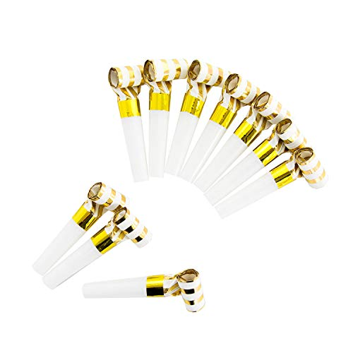 Oblique Unique® 10 matasuegras con forma de silbato para decoración de mesa para fiestas de cumpleaños, baby shower, cumpleaños infantiles, graduaciones y mucho más, color blanco y dorado