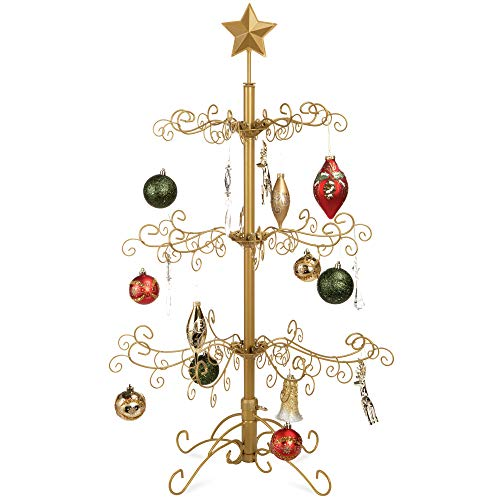 Best Choice Products 3ft Wrought Iron Ornament Display Christmas Tree w/Easy Assembly and Stand - Gold