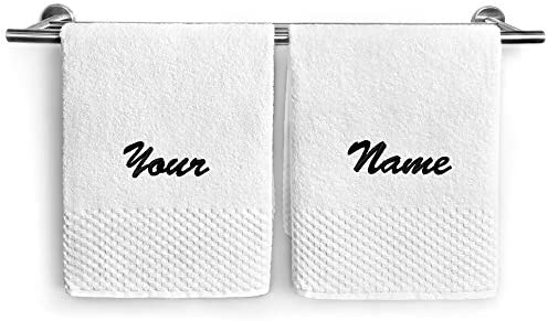 Kaufman Personalized White Deluxe Hand Towels Set of Two 2 PK Monogrammed 17 x28 100 U S A Cotton product image