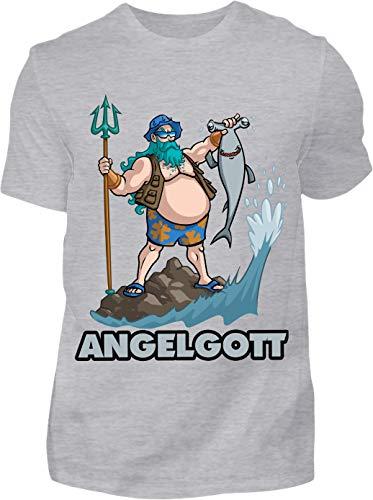T-Shirt Herren Lustig Angelgott - Kurzarm Shirt Baumwolle mit Motiv Aufdruck - Hobby Freizeit Fun Angel Fisch Angler Angeln (M, Grau)